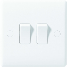 Nexus Moulded White 2-Way 10AX Plate Switch 2-Gang
