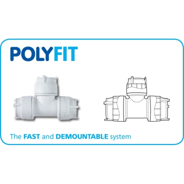 Polyfit Equal Tee 28mm White