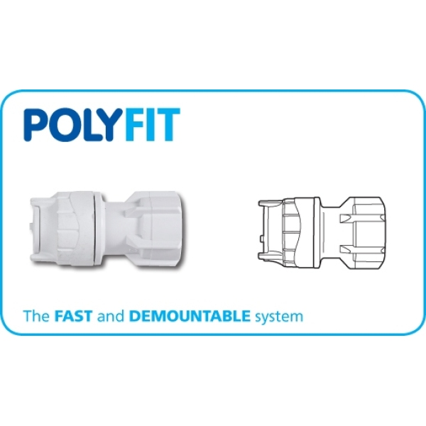 "Polyfit  Hand Tap Connector 15mm x 1/2"" White"