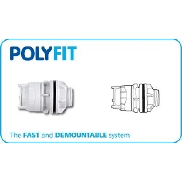 "Polyfit Tank Connector 22mm x 3/4"" White"