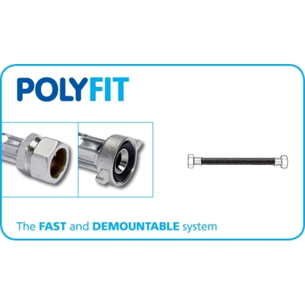 Polyfit x 2 Compression Flexible Hose Tap Connector 15mm x 500mm x 1/2""