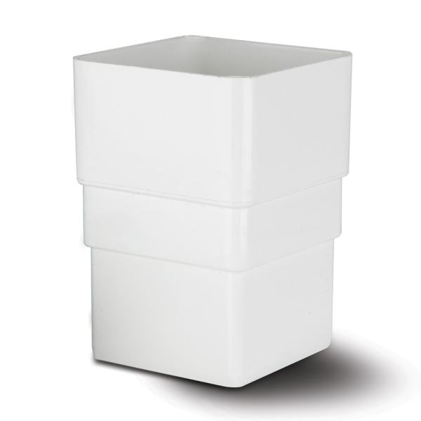 Square Downpipe Connector White 65mm