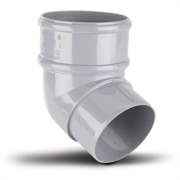 Polypipe 68mm x 112.5 Deg Downpipe Offset Bend Grey