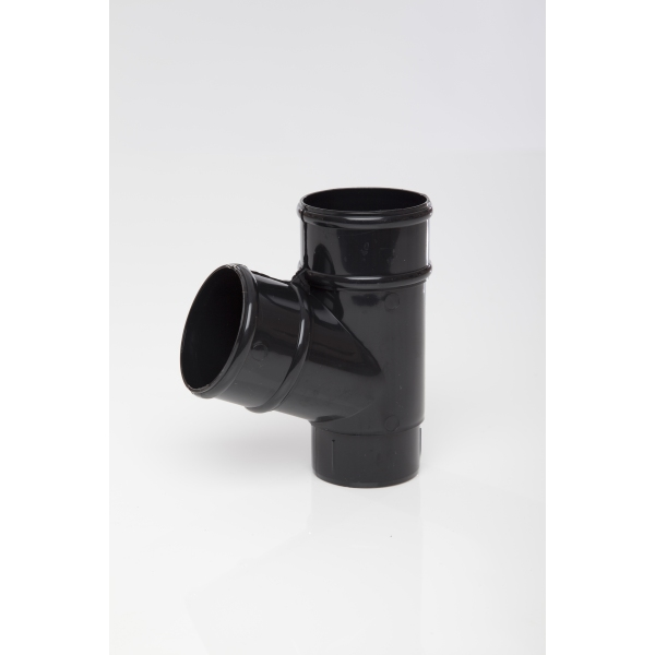 POLYPIPE 68mm x 112.5 Deg Round Downpipe Branch Black
