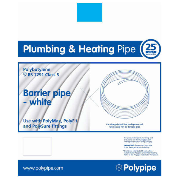 Polypipe Coil Barrier Pipe White 10mm x 100m