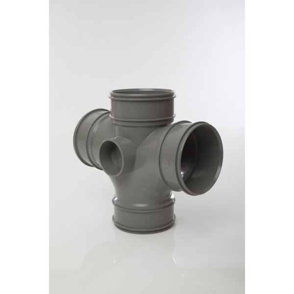 Polypipe Double Branch 4 Socket 110mm x 92.5 Degrees Grey