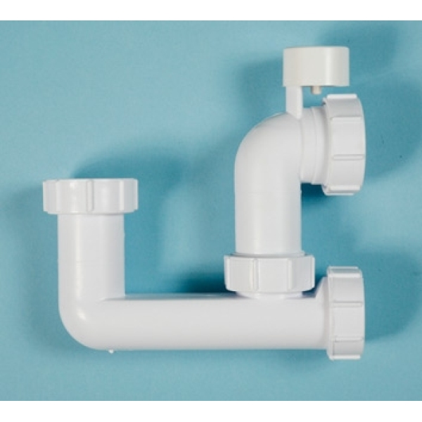 Polypipe Low Level Bath Trap 40mm x 75mm Seal White