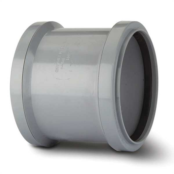 Polypipe Soil Double Socket 110mm Grey