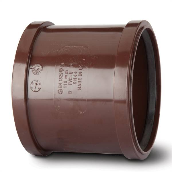 Polypipe Soil SH44 110mm Double Socket Brown