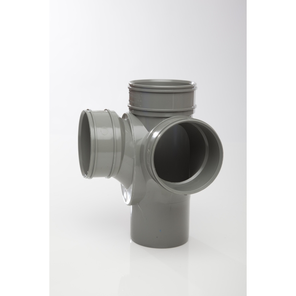 Polypipe Solvent Corner Bracket 110mm x 92.5 Degrees Grey