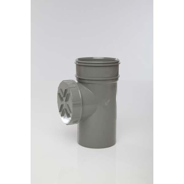 Polypipe Solvent Short Access Pipe Single Socket 110mm Grey