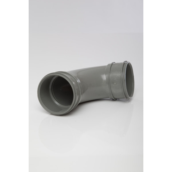 Polypipe Solvent Soil Bend Double Socket 82mm x 92.5 Degrees Grey
