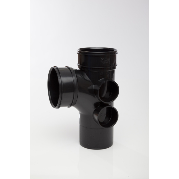 Polypipe Solvent Soil Branch Double Socket 4 Boss 110mm x 92.5 Degrees Black