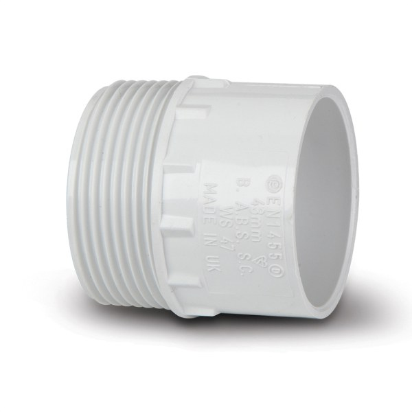 Polypipe Solvent Waste Adaptor Male Iron 40mm ABS White
