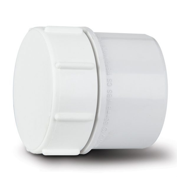 Polypipe Solvent Waste Screwed Access Plug 50mm ABS White