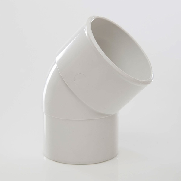 Polypipe Solvent Waste Spigot Bend 50mm x 45 Degrees ABS White