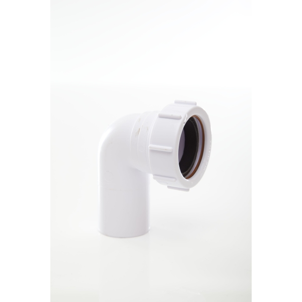 Polypipe Waste Compression Swivel Elbow 40mm x 90 Degrees White