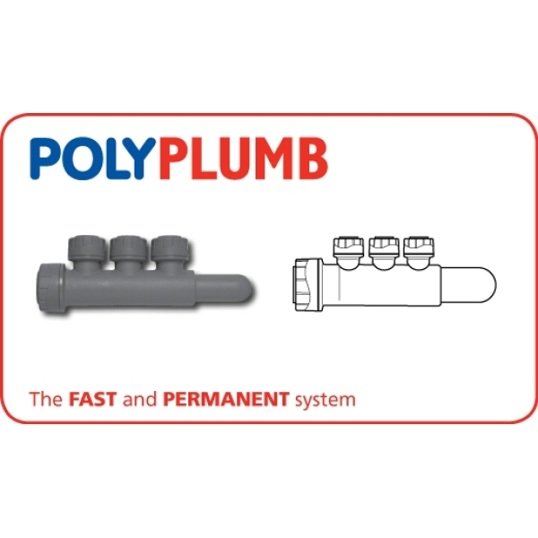 Polyplumb Single Side Manifold 22mm x 15mm Grey