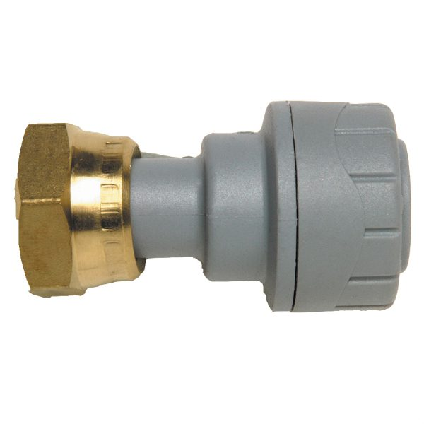 Polyplumb Tap Connector 15mm x 3/4 inch Grey