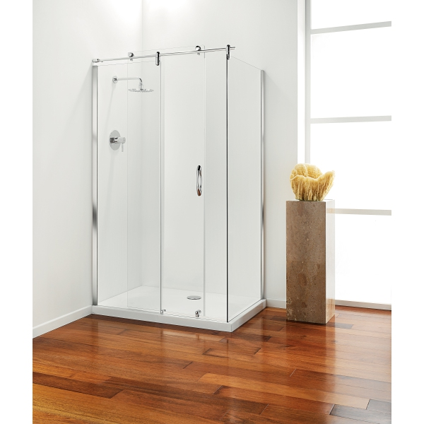 Premier frameless Hinged Door 800mm Plain Glass Chrome Right Hand