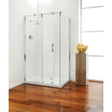 Premier Frameless Hinged Door 900mm Plain Glass Chrome Left Hand
