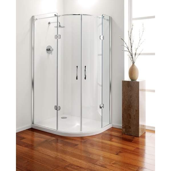 Premier Frameless Hinged Offset Quadrant 1200mm Plain Glass Chrome Left Hand