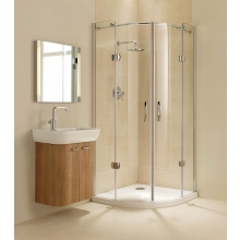 Premier Frameless Hinged Quadrant 900mm Plain Glass Chrome