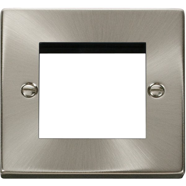 Single Plate (Twin Media Module Aperture) Unfurnished- Satin Chrome