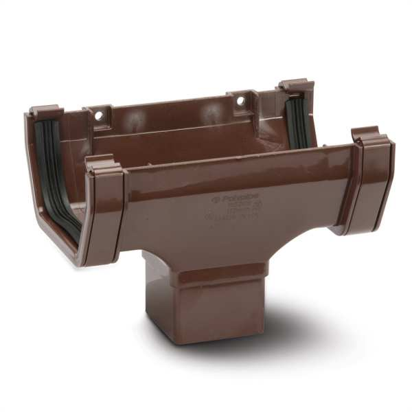 Sqaure Gutter Running Outlet Brown 112mm