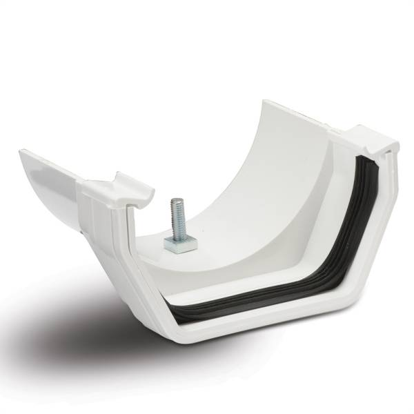 Square Gutter Joint to Half Round Metal Adaptor White 112mm