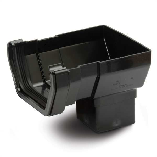 Square Gutter Stop End Outlet Black 112mm