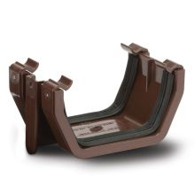 Square Gutter Union Brackets Brown 112mm