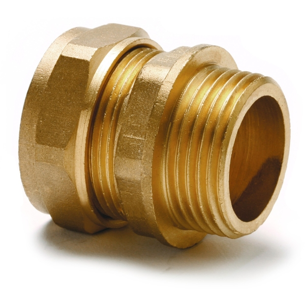 "Straight Adaptor Parallel Male 15mm X 1/4"" Copper"