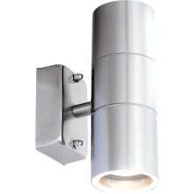 SureGraft Hannah IP44 Rated GU10 Wall Lights Stainless Steel (Up & Down) 2 x 35W