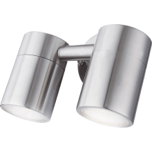 SureGraft Hannah IP44 Rated GU10 Wall Lights Stainless Steel (Double) 2 x 35W