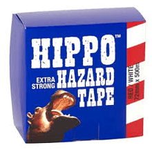 Tembe Hippo 72mm Hazard Tape Red/White 500m