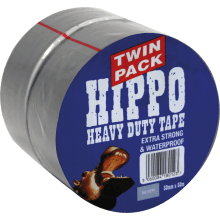 Tembe Hippo H/D 50mm x 50m Silver Twin Pack