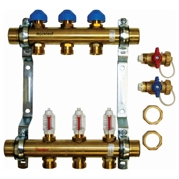 UFH Brass 3 Port Manifolds 15mm