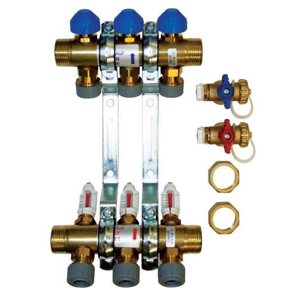 UFH Brass 9 Port Manifolds 15mm