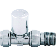 Ultima Standard Radiator Valve Straight with Lockshield 15mm