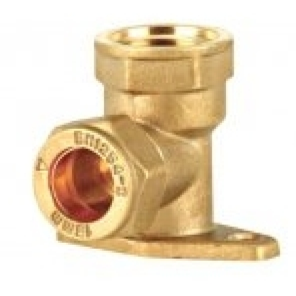 "Wallplate Elbow Swivel 15mm X 1/2"" Brass"