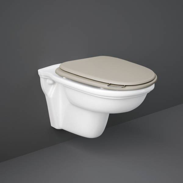 Washington Rimless Wall Hung Pan and S-C Wood Toilet Seat M-Cuppuccino
