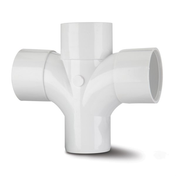 Waste ABS Cross Tee 92.5 White 40mm
