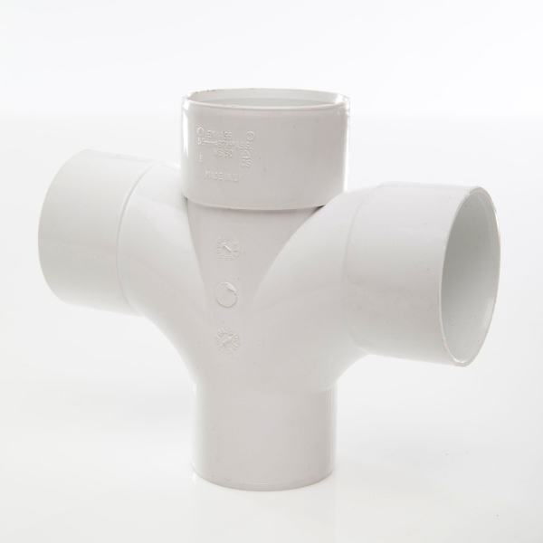 Waste ABS Cross Tee 92.5 White 50mm