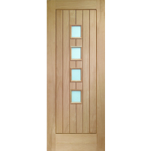 XL Joinery Suffolk 4 Light Obscure Glass Oak Veneer Door